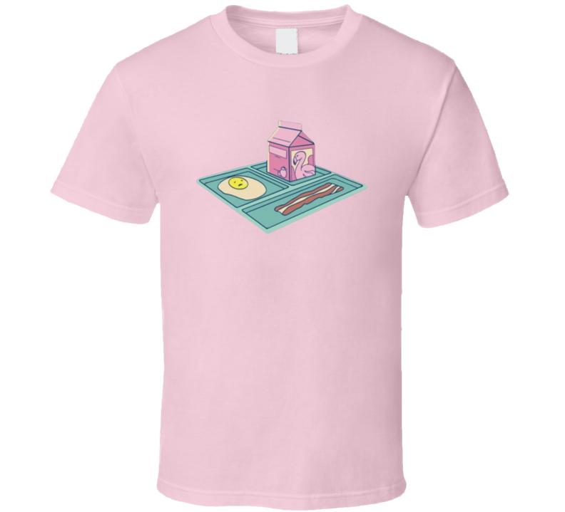 Flamingo School Trey Milk Bacon Eggs T Shirt