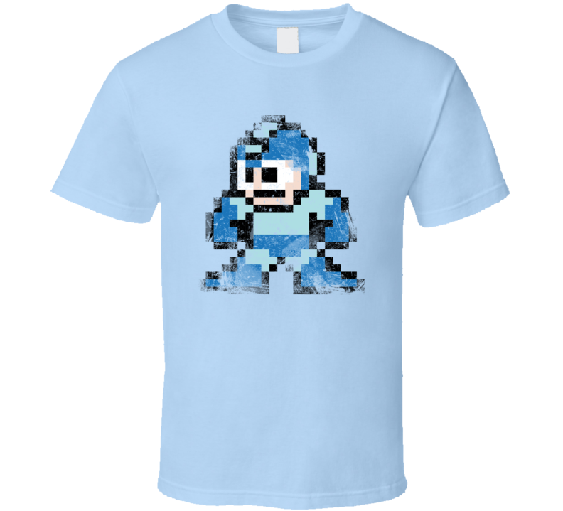 Retro Mega Man 8bit Grunge T Shirt