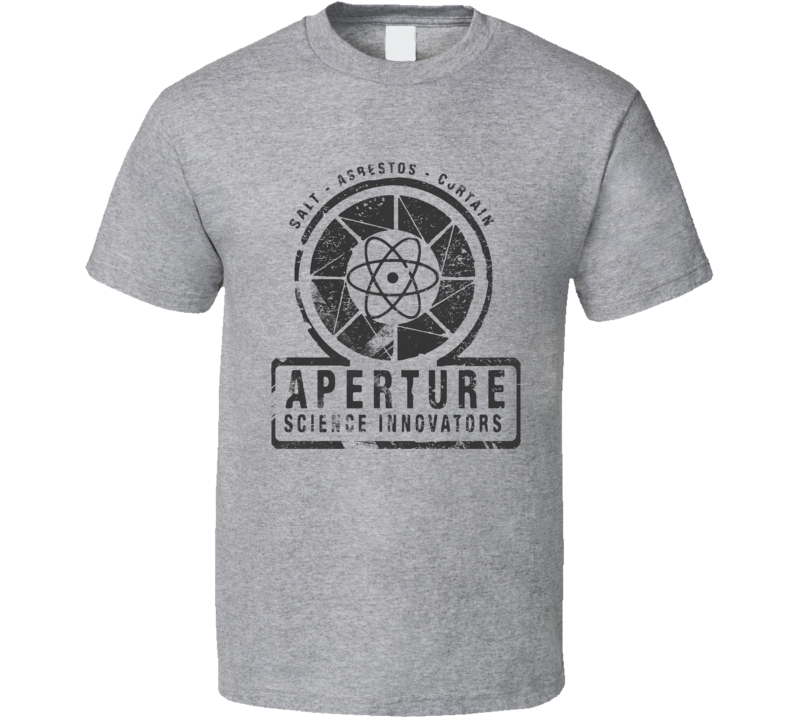 Aperture Science Black Logo Portal  T Shirt