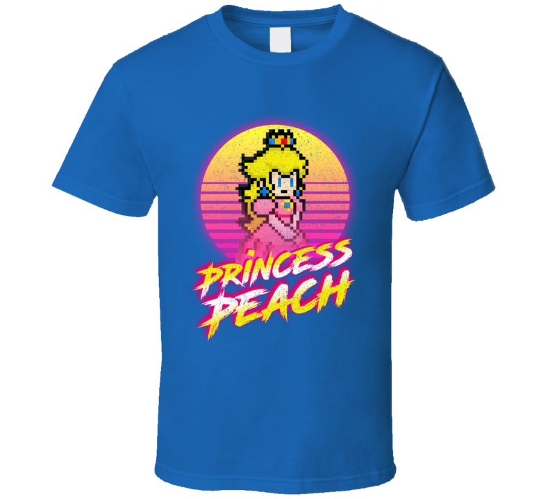 Princess Peach Synth Retro 80's Mario Bros. T Shirt