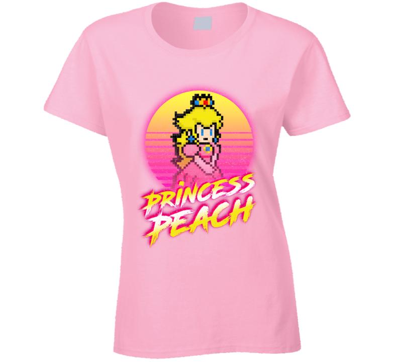 Princess Peach Synth Retro 80's Mario Bros. Ladies T Shirt