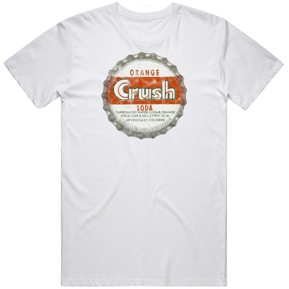 Crush Soda Vintage Bottle Cap Orange Pop Fizz Drink Fan Worn Look T Shirt
