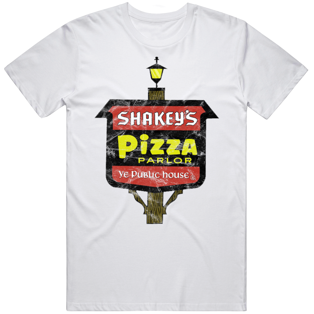 Shakey's Pizza Parlour Logo Sign Fast Food Foodie Fan Worn Look T Shirt