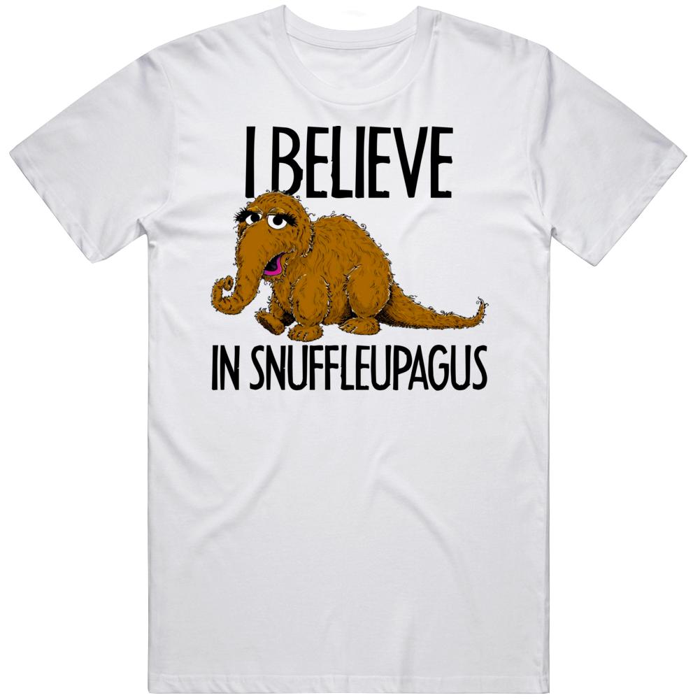 I Believe In Snuffleupagus Funny Sesame Street Imaginary Friend Tv Fan T Shirt