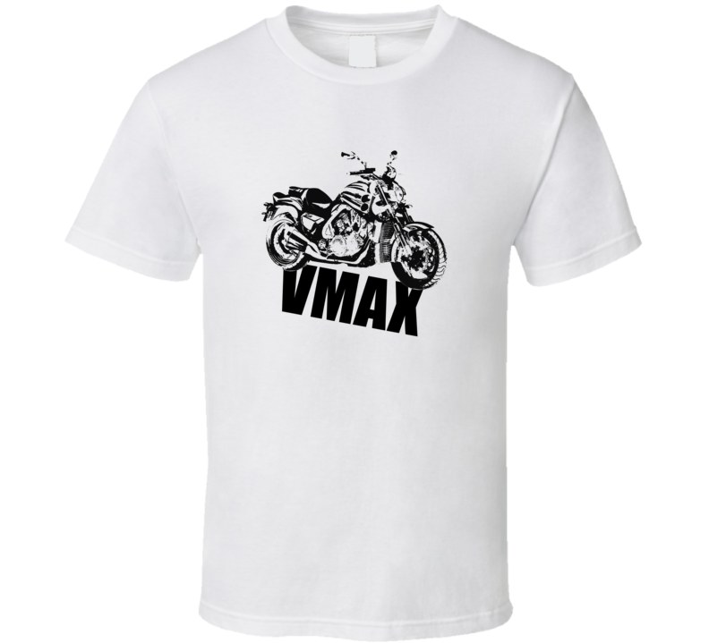 Vmax Motorcycle Side View With Model Light Color T Shirt