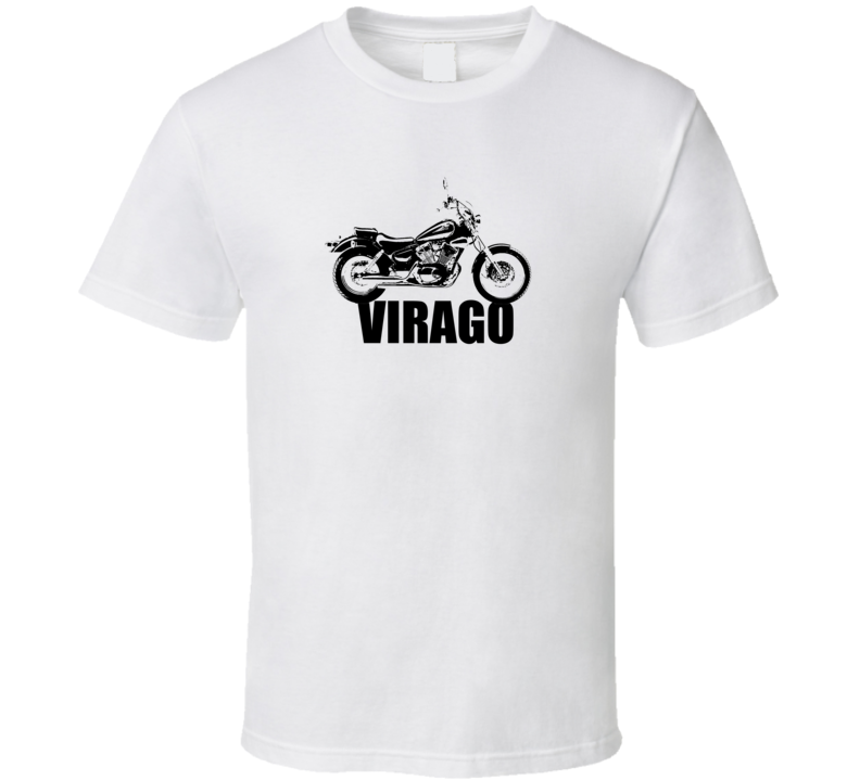 Virago Motorcycle Side View With Model Light Color T Shirt