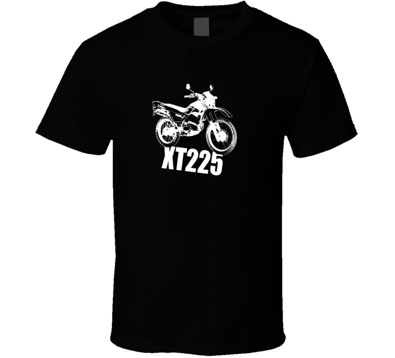 XT225 Motorcycle Side View With Model Dark Color T Shirt