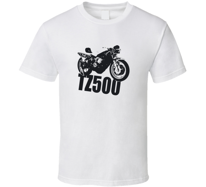 TZ500 Motorcycle Side View With Model Light Color T Shirt
