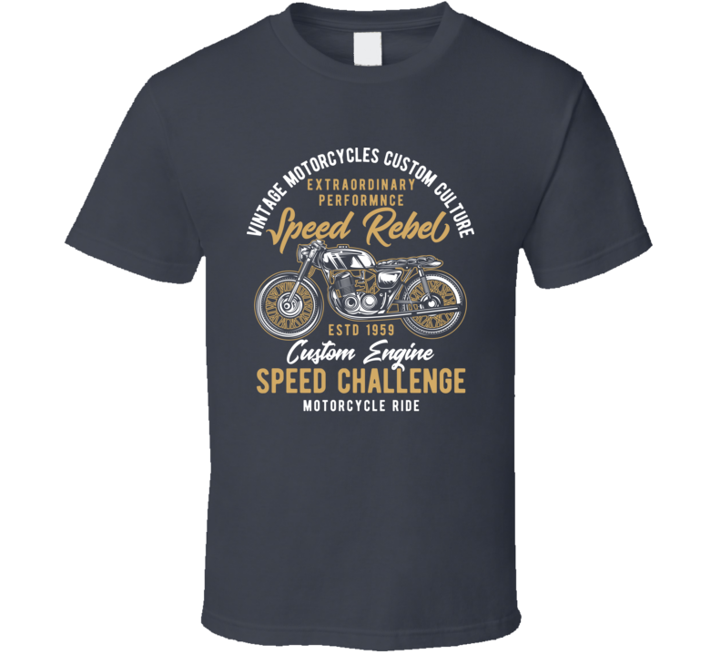 Speed Rebel Vintage Style Motorcycle Dark Color T Shirt