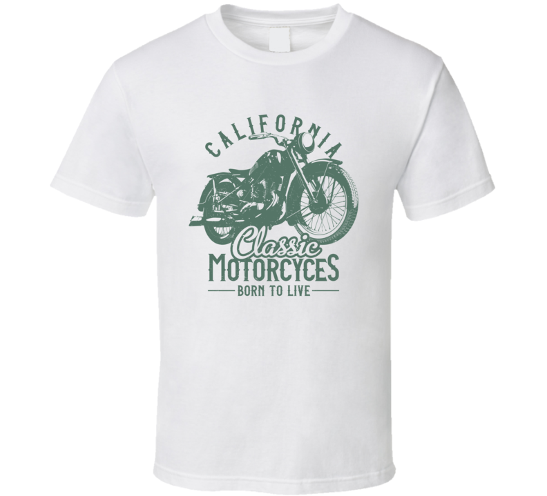 California Classic Vintage Style Motorcycle Light Color T Shirt