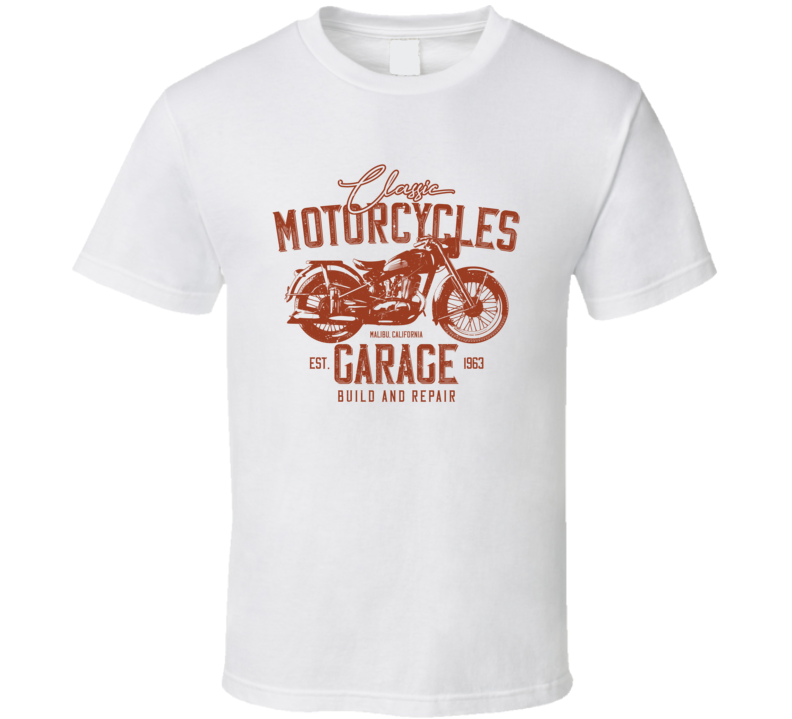 Classic Garage Vintage Style Motorcycle Light Color T Shirt