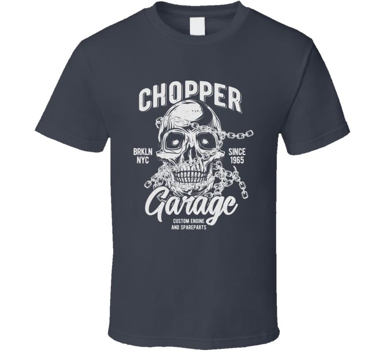 Chopper Garage Vintage Style Motorcycle Dark Color T Shirt