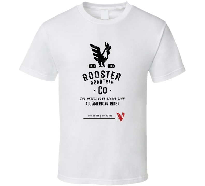 Rooster Roadtrip Vintage Style Motorcycle Light Color T Shirt