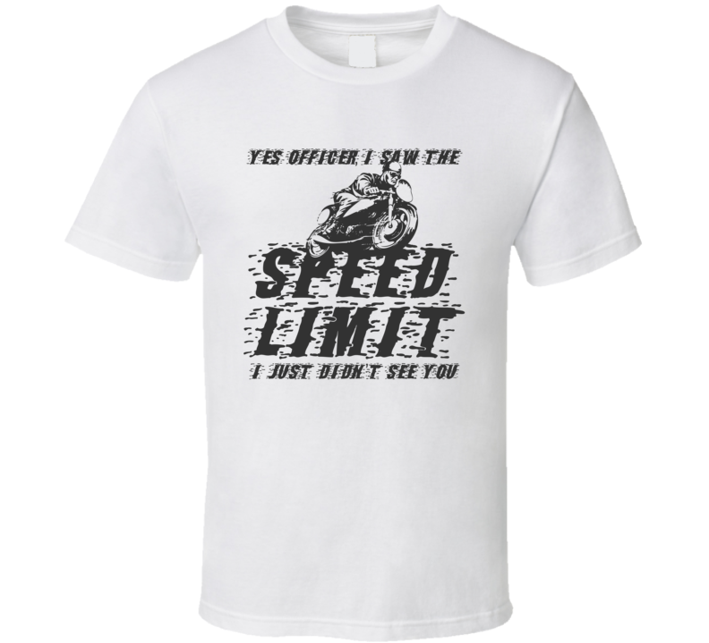Speed Limit Vintage Style Funny Motorcycle Light Color T Shirt