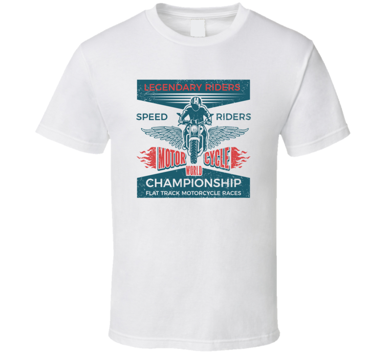 Legendary Riders Flat Track Races Vintage Style Motorcycle T Shirt