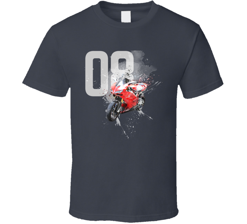 2008 1098s Side View Shatter Cloud Style Motorcycle Dark Color T Shirt