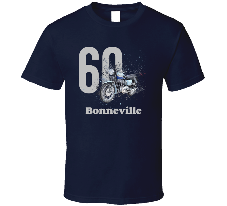 1960 T120 Bonneville Side Angle Shatter Style With Model Motorcycle Dark Color T Shirt