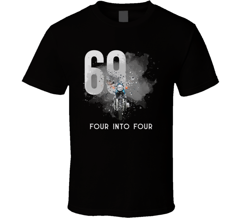 1969 Cb750 Front Shatter Cloud Style With Slogan Motorcycle Dark Color T Shirt