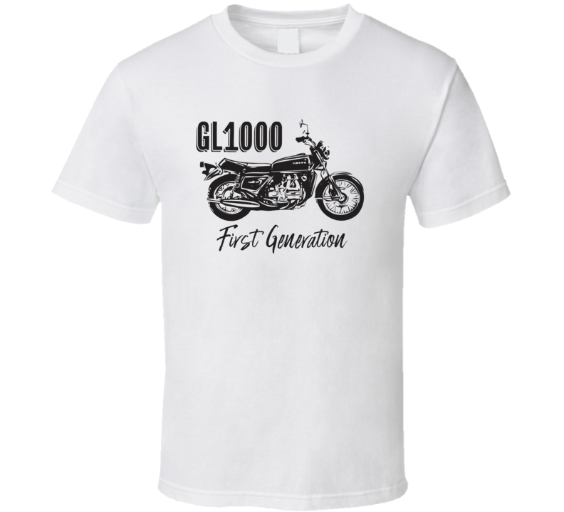 1975 Gold Wing Gl1000 First Generation Side View Motorcycle With Slogan Light Color T Shirt