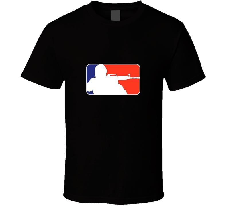Rifle, Military NBA Logo, MLB Logo, Parody T Shirt