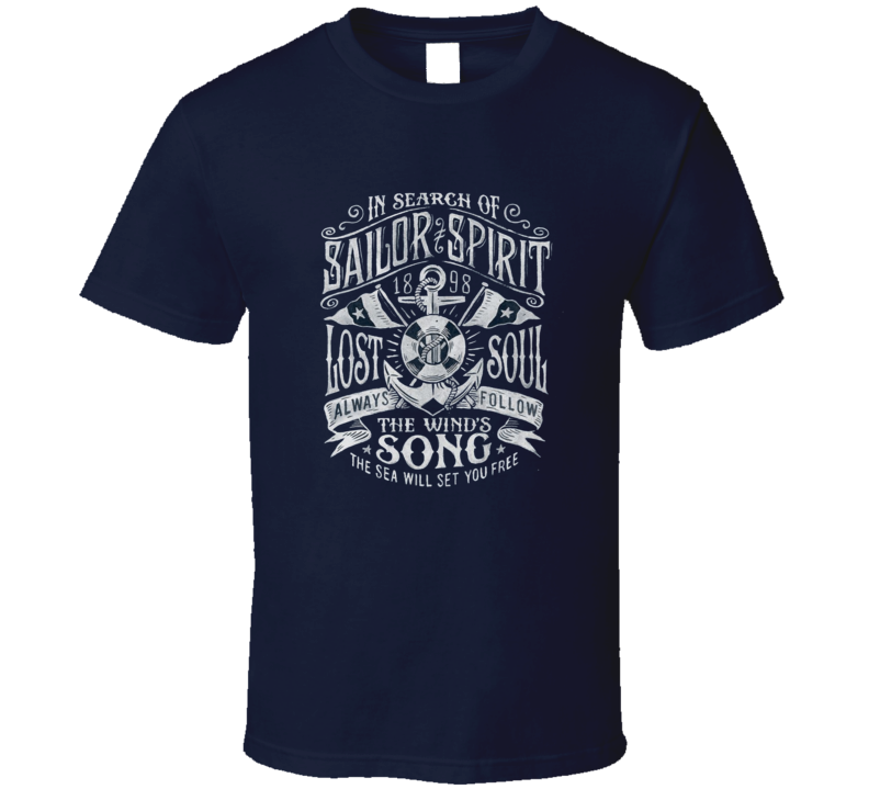Vintage Inspired Sailing Sailor Spirit Lost And Found Anchor And Flags T Shirt