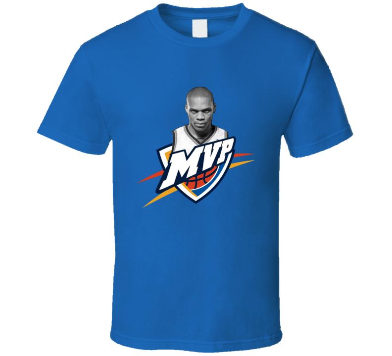 Russell Westbrook MVP OKC Basketball Logo T Shirt Oklahoma Black and White Portrait