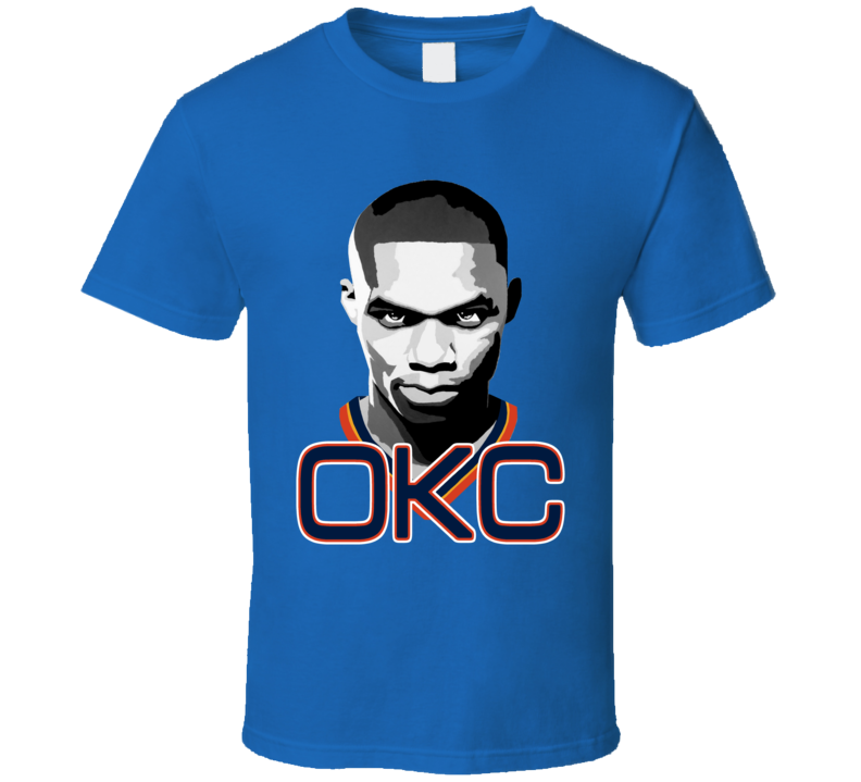 Russell Westbrook Black and White Drawing OKC Basketball T Shirt Oklahoma