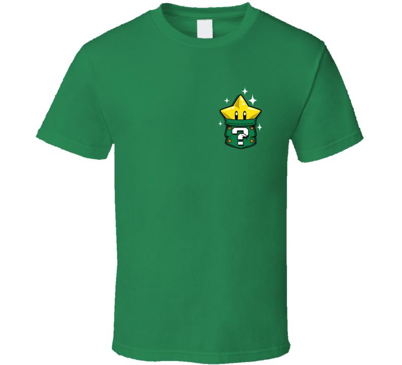 Invincible Super Star Pocket Super Mario Bros Retro 80s T Shirt Gamer Essential
