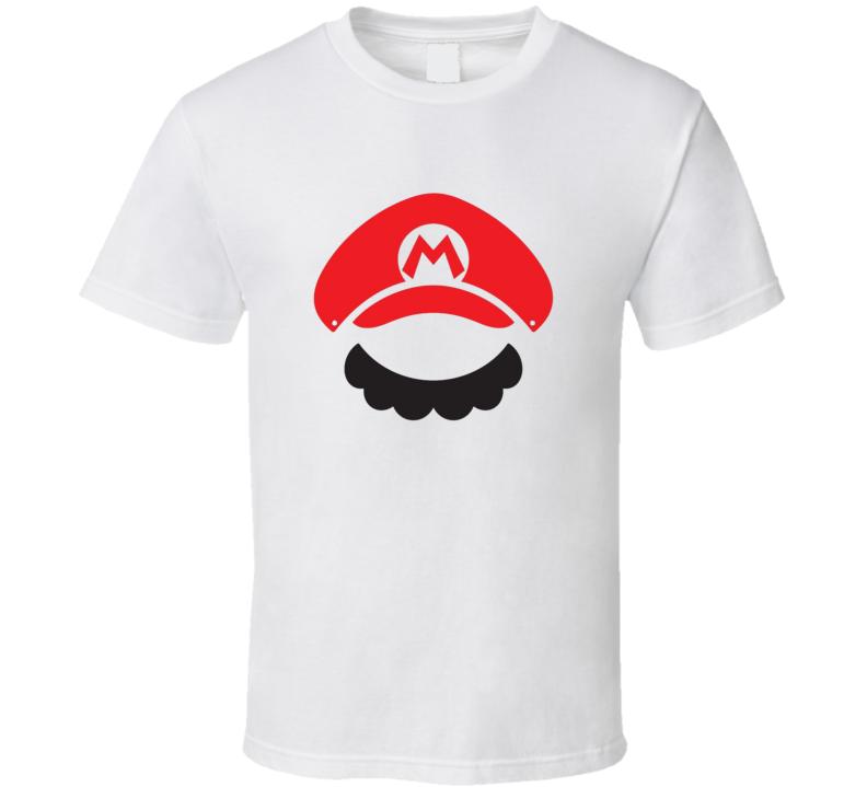 Super Mario Bros Minimal Negative Space Design Retro 80s Funny Mustache T Shirt for Movemeber