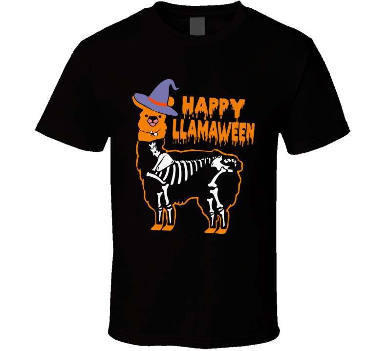 Llama Happy Halloween Witch  T Shirt
