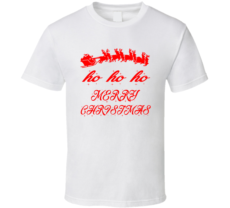 Ho Ho Merry Christmas Santa Claus Reindeer T Shirt