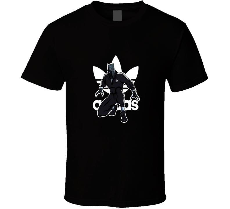 Cool Black Panther Adidas Logo Mashup Superhero T Shirt