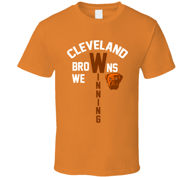 Cleveland Browns We Winning Baker Mayfield Mascot Bulldog  Football Fan T Shirt