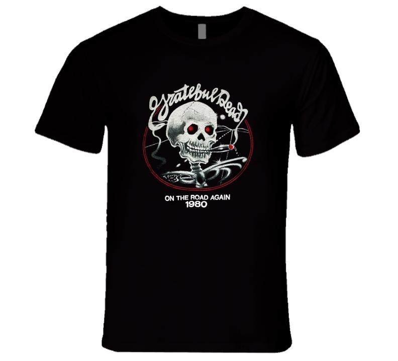 Grateful Dead On The Road Again 1980 Classic Retro Rock Music Tour T Shirt