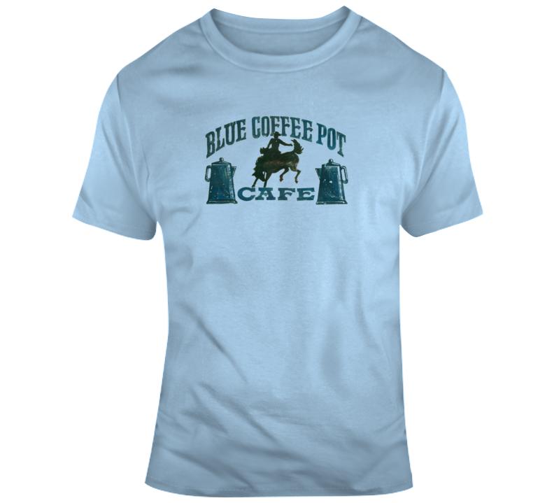 Blue Coffee Pot Cafe T Shirt