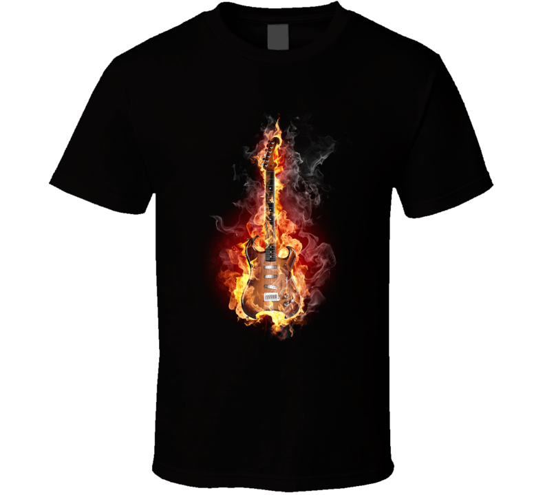 Flaming Guitar T Shirt