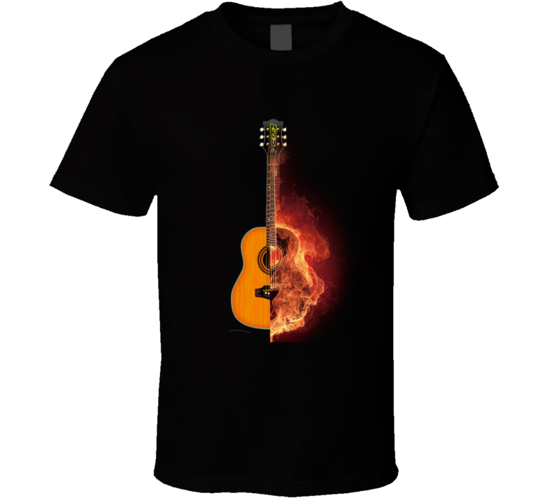 Flaming Guitar T Shirt