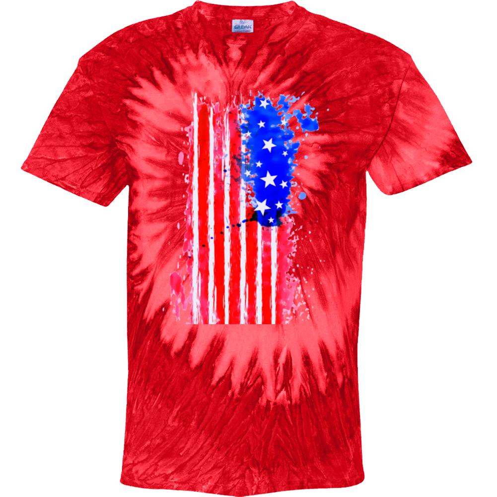 U S A Flag Red Swirl Tie Dye