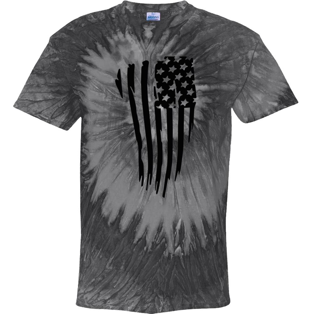 U S A Flag Black Swirl Tie Dye