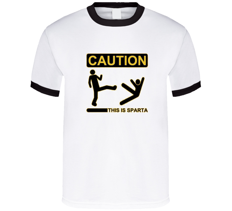 CAUTION this is Sparta Black Ringer T Shirt