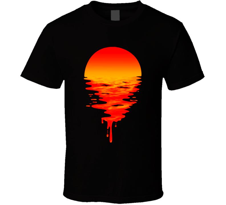 Dripping Sunset Abstract Art T Shirt