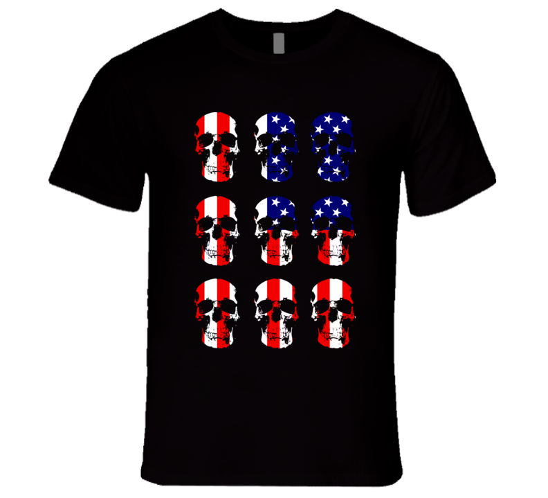 USA Skulls Flag T Shirt