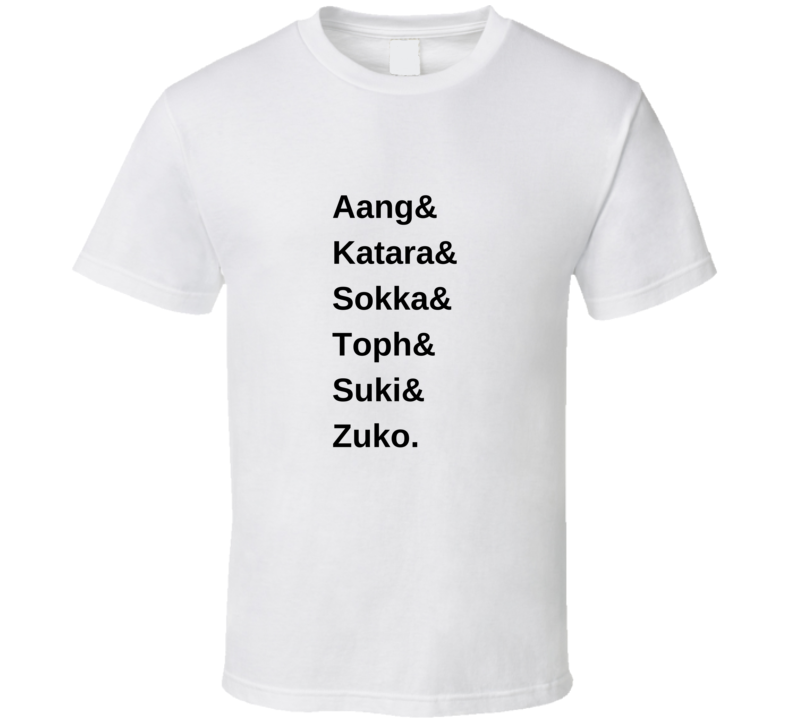 Gaang Names (black) Aang Katara Avatar The Last Airbender Legend Of Korra T Shirt