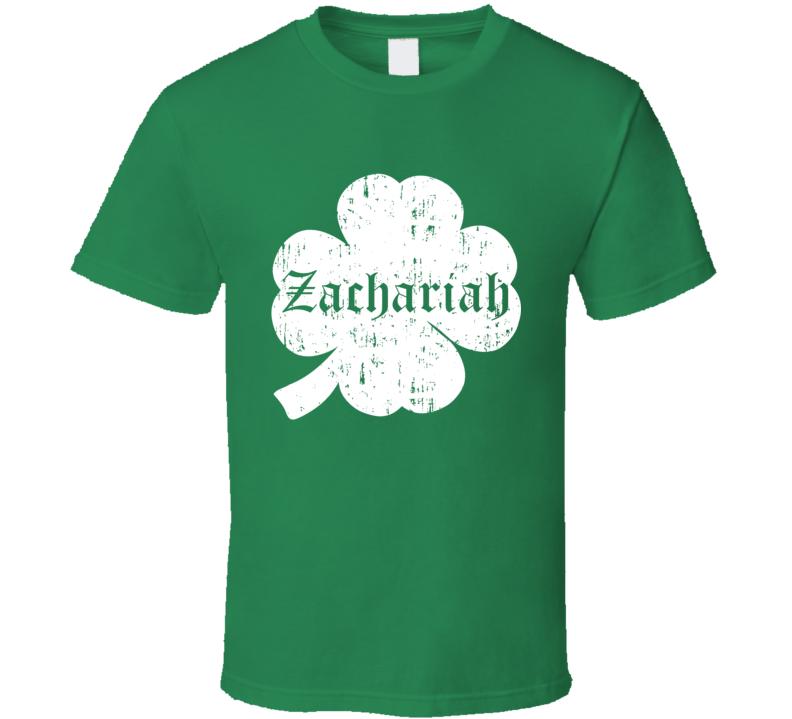 Zachariah St Patricks Day Clover Name T Shirt