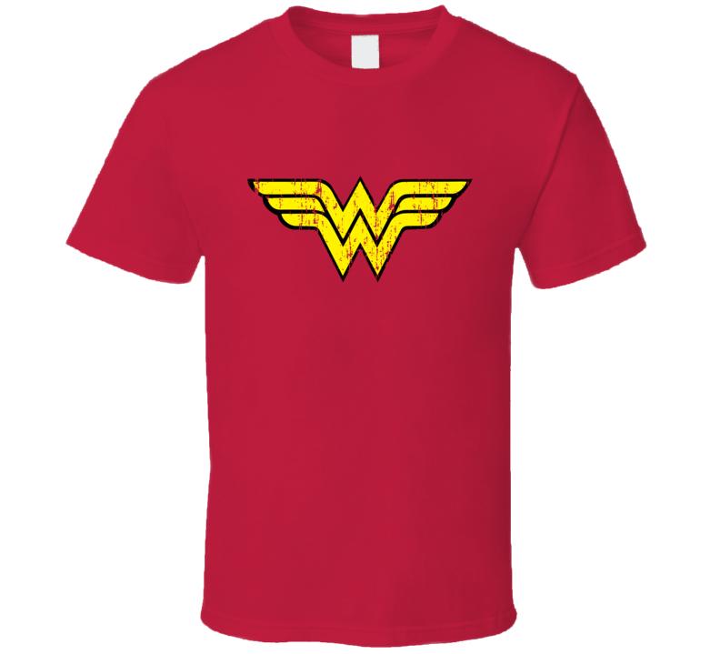Wonder Woman Distressed Logo Super Hero Halloween Costume T Shirt