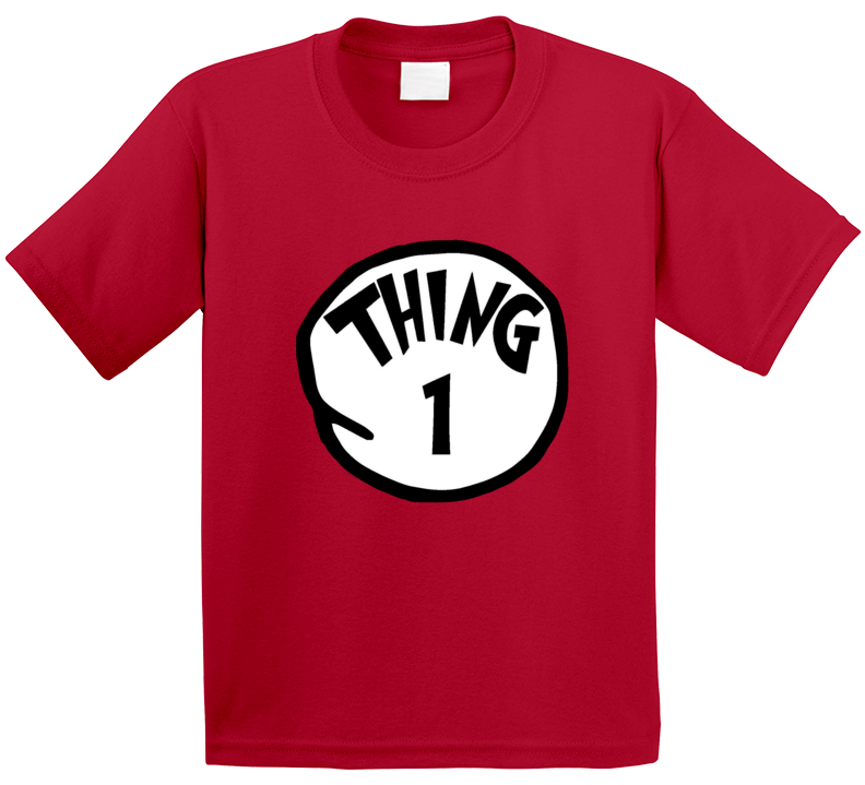 Thing 1 One Cat In The Hat Seuss Book Halloween Costume T Shirt