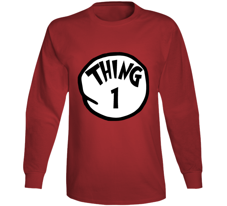Thing 1 One Cat In The Hat Seuss Book Halloween Costume Long Sleeve