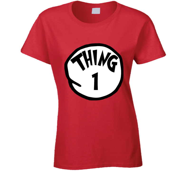 Thing 1 One Cat In The Hat Seuss Book Halloween Costume Ladies T Shirt