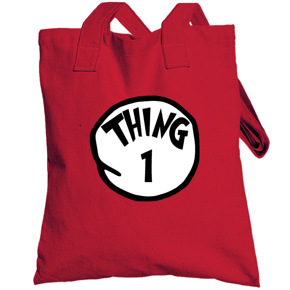 Thing 1 One Cat In The Hat Seuss Book Halloween Costume Totebag
