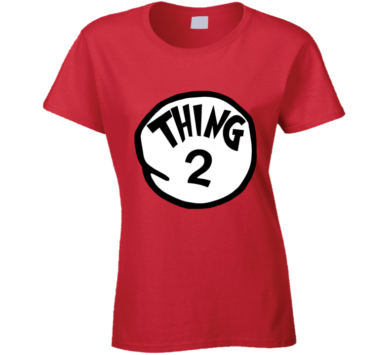Thing 2 Two Cat In The Hat Seuss Book Halloween Costume Ladies T Shirt
